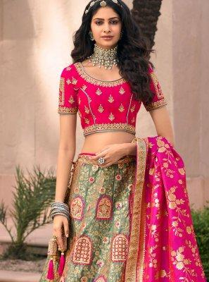 Resham Banarasi Silk Green and Pink Lehenga Choli