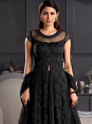 Resham Black Net Salwar Suit