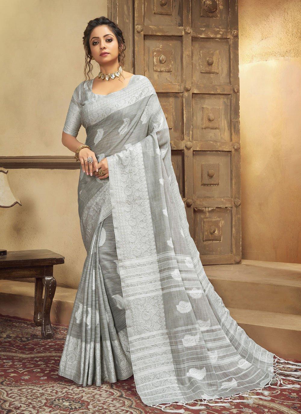 Resham Cotton Grey Trendy Saree