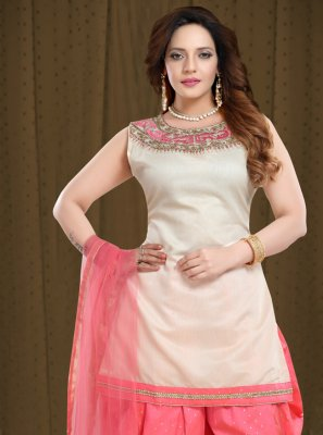 Resham Cream and Pink Designer Patiala Suit