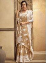 Resham Cream Classic Designer Saree