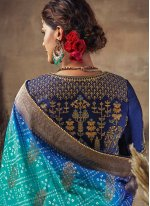 Resham Fancy Fabric Blue Traditional Saree