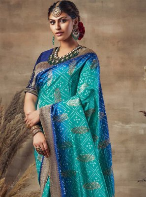 Resham Fancy Fabric Blue Traditional Saree