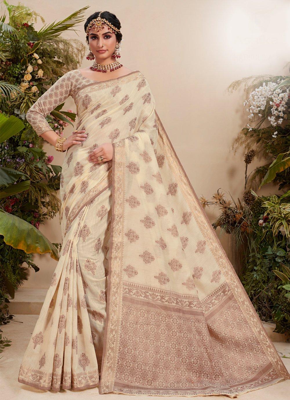 Resham Fancy Fabric Trendy Saree in Off White