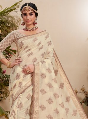 Resham Fancy Fabric Trendy Saree in Off White
