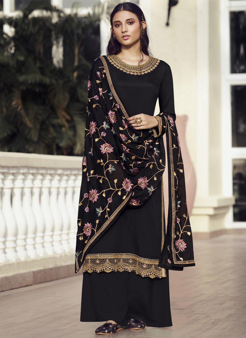 Resham Faux Chiffon Black Designer Pakistani Suit
