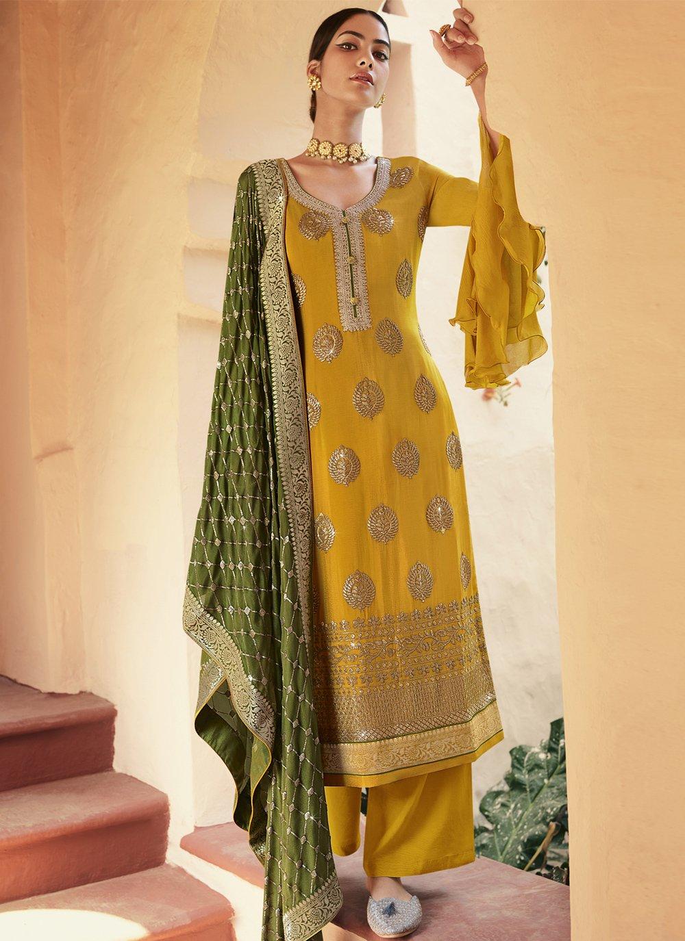 Resham Faux Chiffon Designer Palazzo Suit