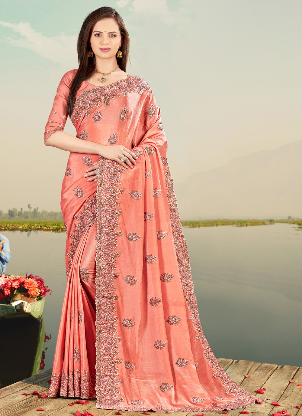 Resham Faux Chiffon Designer Saree