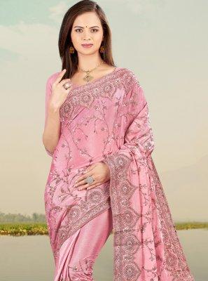 Resham Faux Chiffon Lavender Designer Saree