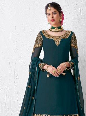 Resham Faux Georgette Designer Kameez Style Lehenga Choli in Teal