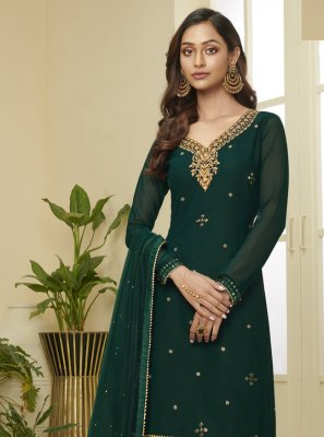 Resham Faux Georgette Green Designer Palazzo Suit