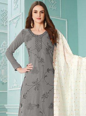 Resham Faux Georgette Grey Designer Palazzo Suit