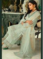 Resham Faux Georgette Sea Green Designer Pakistani Suit
