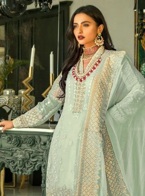 Resham Faux Georgette Sea Green Designer Pakistani Suit
