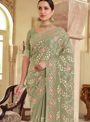 Resham Georgette Satin Bollywood Saree in Green