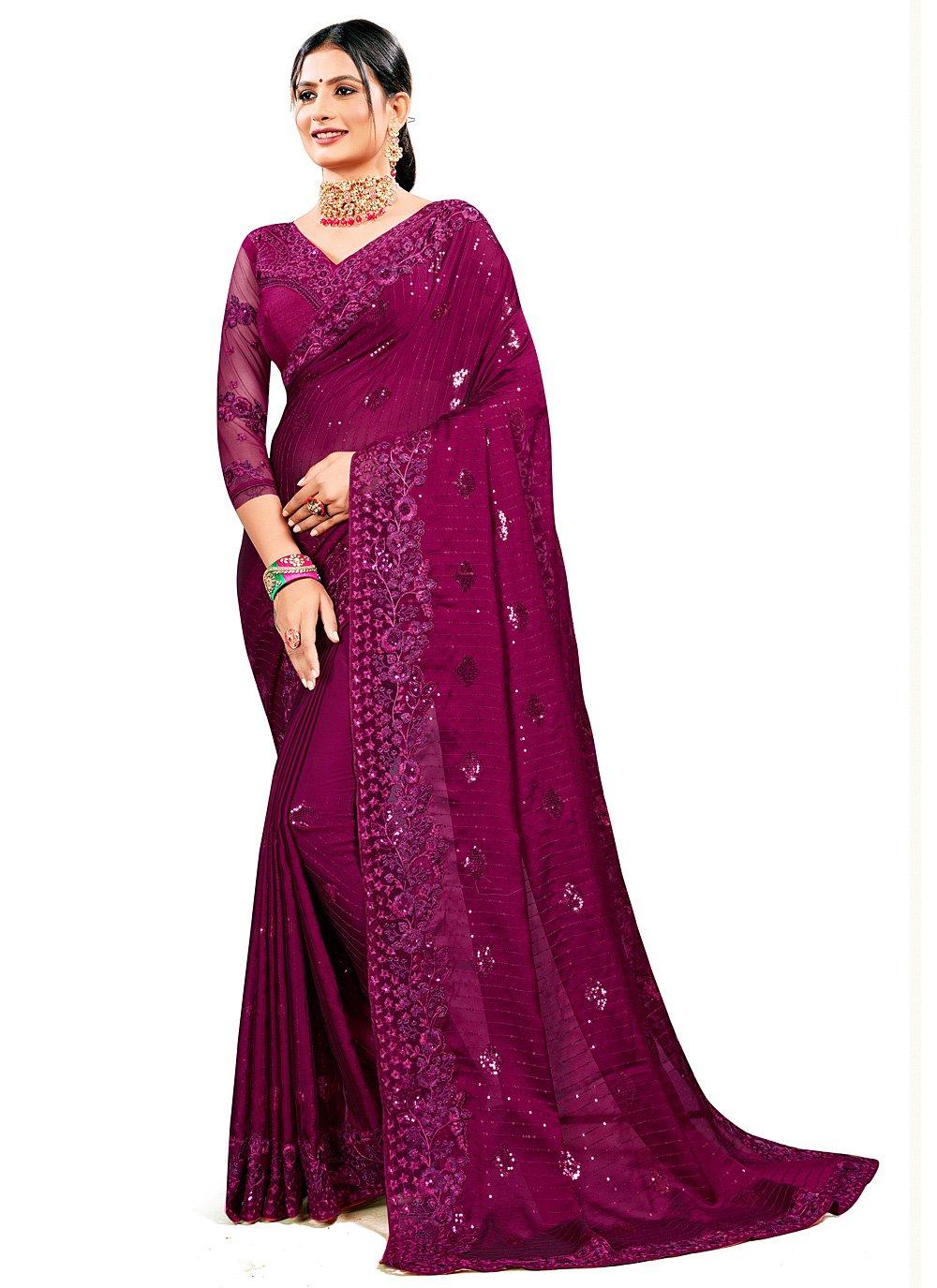 Resham Georgette Satin Designer Saree in Wine