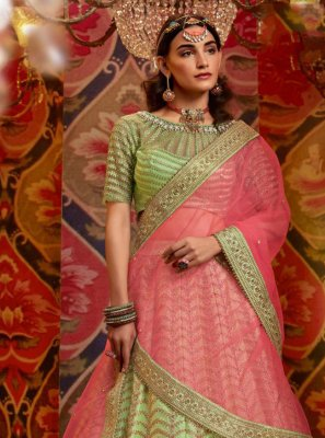 Resham Green Raw Silk Lehenga Choli