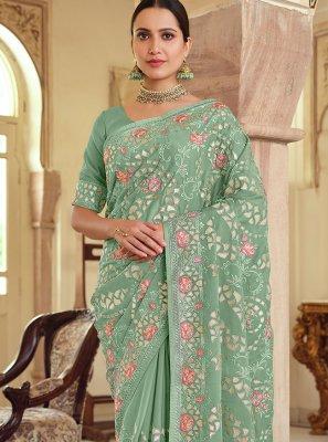 Resham Green Trendy Saree