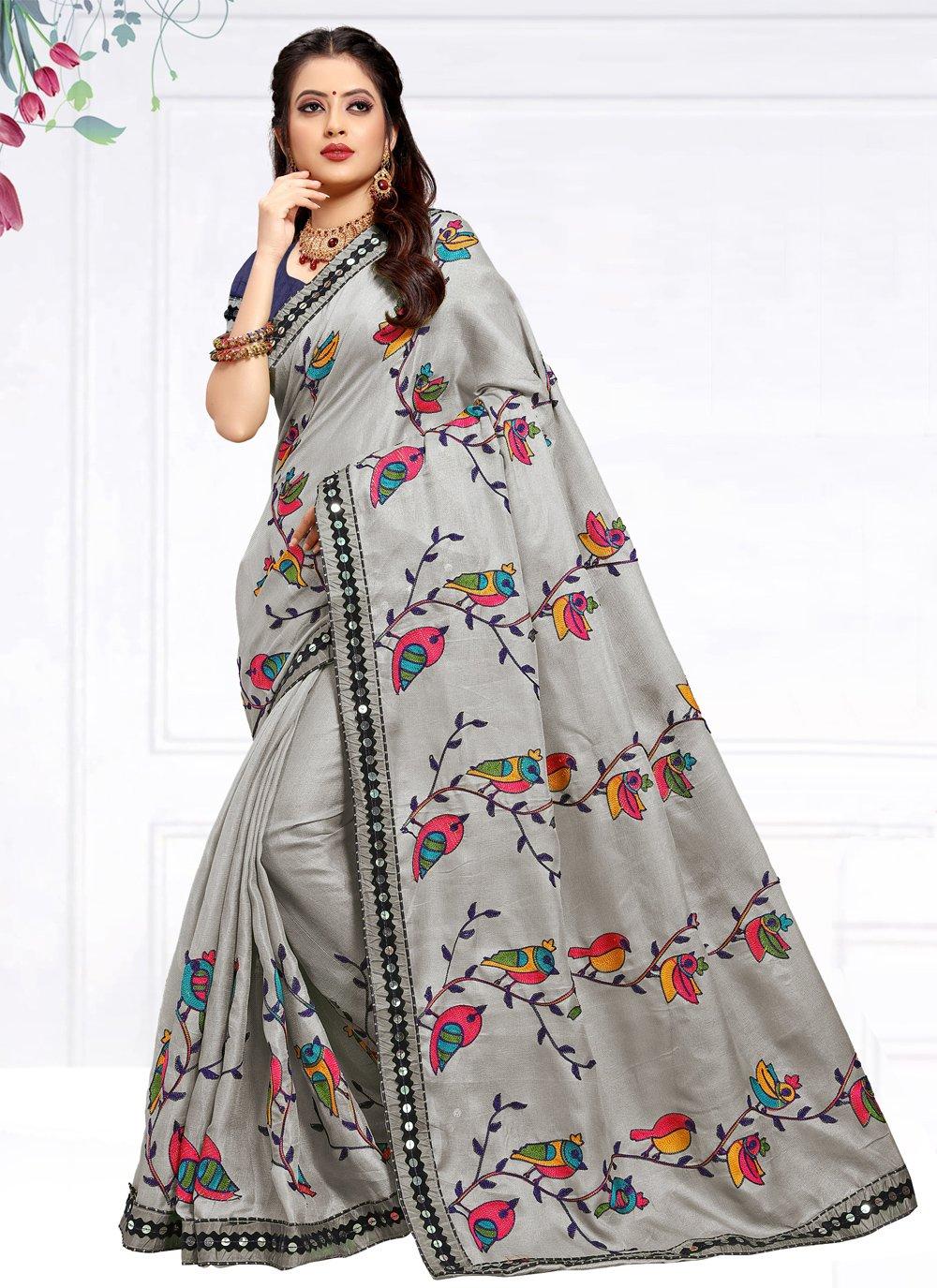 Resham Grey Traditional Saree