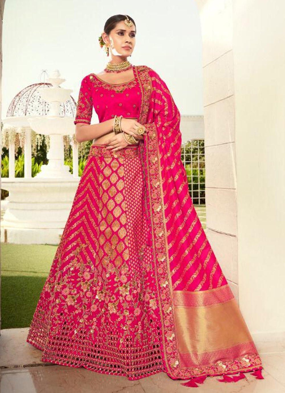 Resham Hot Pink Silk Lehenga Choli