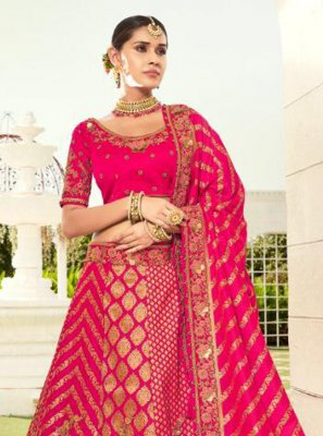 Resham Hot Pink Silk Lehenga Choli