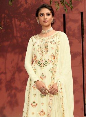 Resham Jacquard Silk Designer Palazzo Salwar Suit