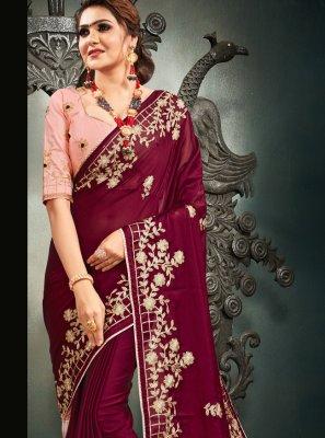 Resham Magenta Satin Designer Saree
