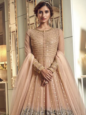 Resham Mehndi Floor Length Anarkali Suit