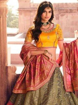 Resham Multi Colour Silk Lehenga Choli