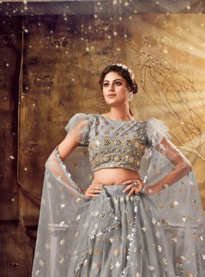 Resham Net Bollywood Lehenga Choli in Grey