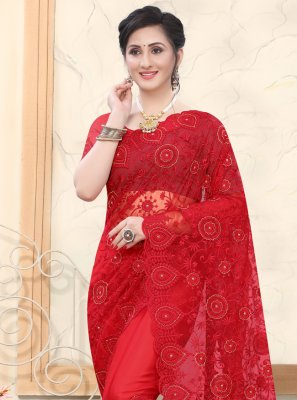 Resham Net Designer Saree in Red