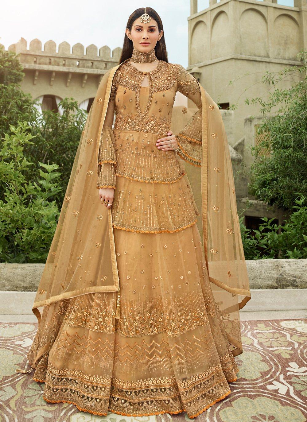 Resham Net Floor Length Anarkali Suit in Beige
