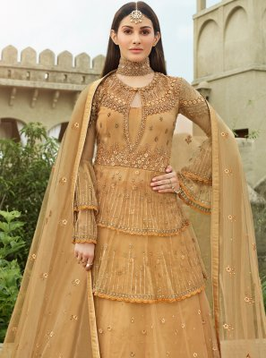 Resham Net Floor Length Anarkali Suit in Beige