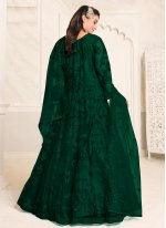 Resham Net Green Floor Length Anarkali Suit