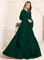 Resham Net Green Floor Length Anarkali Suit