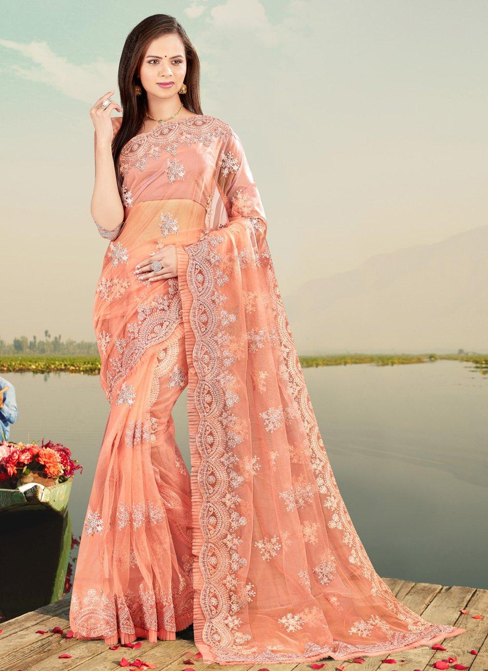 Resham Net Peach Designer Saree