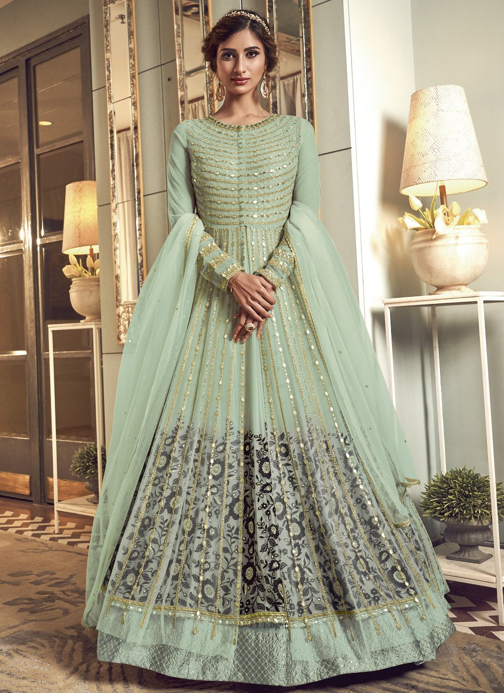 Resham Net Sea Green Floor Length Anarkali Suit