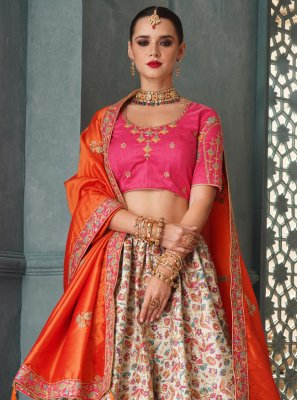 Resham Off White Lehenga Choli