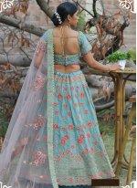 Resham Pashnima Silk Lehenga Choli in Aqua Blue
