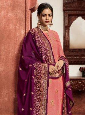 Resham Peach Jacquard Silk Pant Style Suit