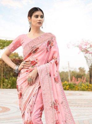 Resham Pink Classic Saree