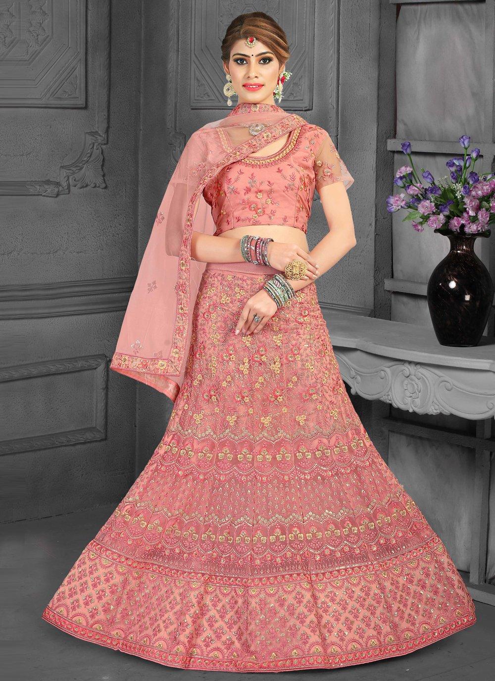 Resham Pink Lehenga Choli