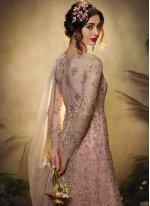 Resham Pink Net Floor Length Anarkali Suit
