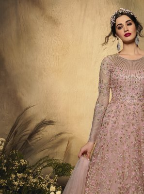 Resham Pink Net Floor Length Anarkali Suit