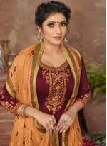 Resham Satin Pant Style Suit in Maroon