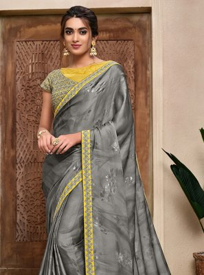 Resham Satin Silk Trendy Saree in Grey