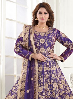 Resham Silk Blue Floor Length Anarkali Suit
