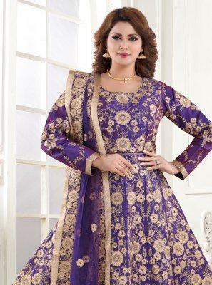 Resham Silk Blue Floor Length Anarkali Suit