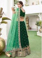 Resham Silk Green Lehenga Choli