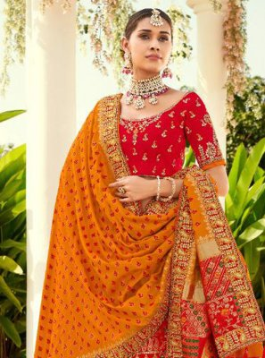 Resham Silk Lehenga Choli in Red